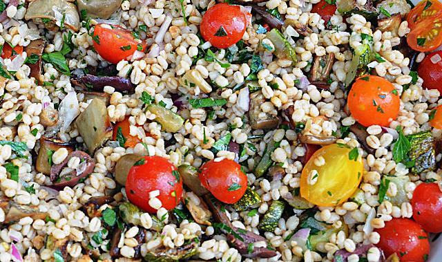 mediterranean eggplant and barley salad oldways mediterranean eggplant ...