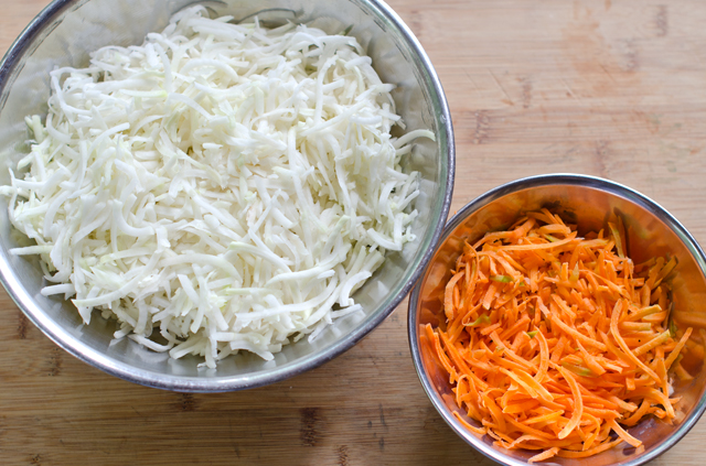Shredding the kohlrabi and carrots is easy in the food processor.