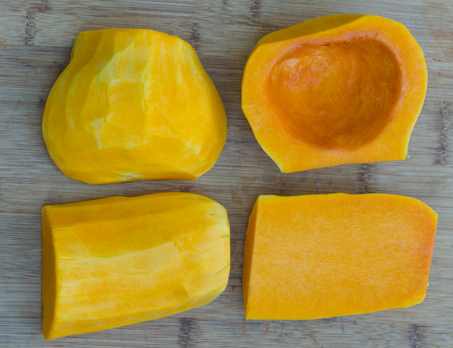 Preparing the butternut squash.