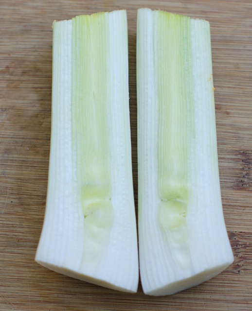 I used a leek from the garden but an onion will work as well.