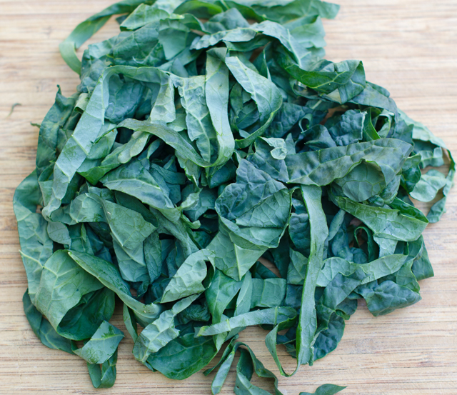 Kale ribbons only need about five minutes to wilt into the soup.